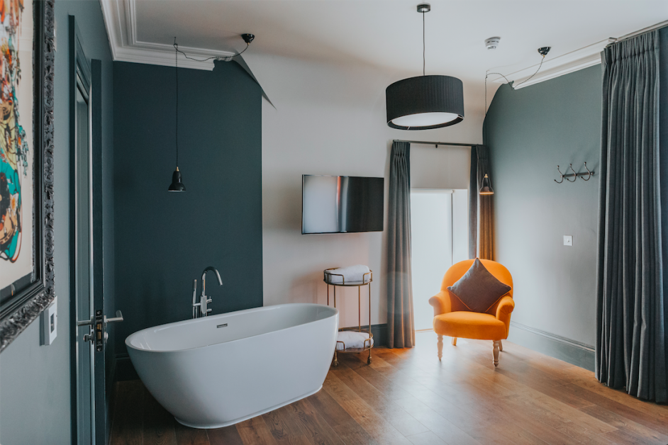 Freestanding bath in the luxury double room at the Ginger Pig hotel in Hove, Brighton