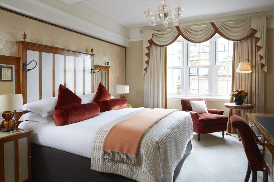 A bedroom at the independent Goring Hotel in London