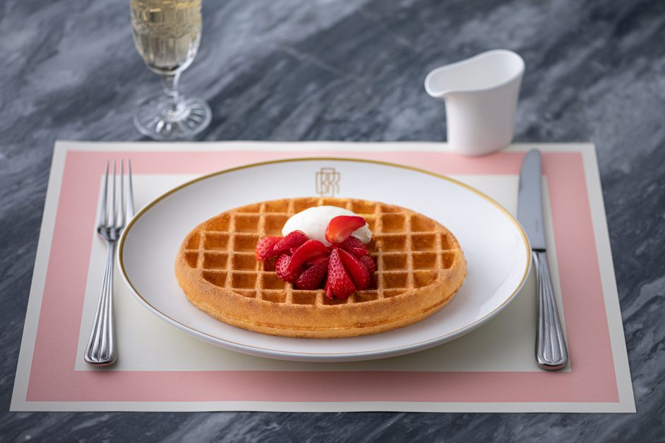 Waffle And Strawberries with ice cream
