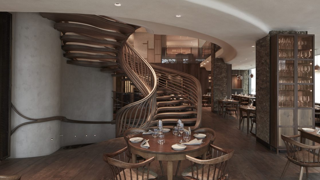 The winding wooden staircase at Hide restaurant Piccadilly
