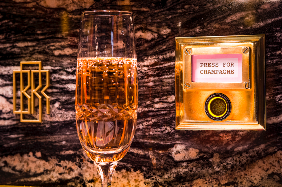 The famous Press For Champagne button at Bob Bob Ricard in Soho