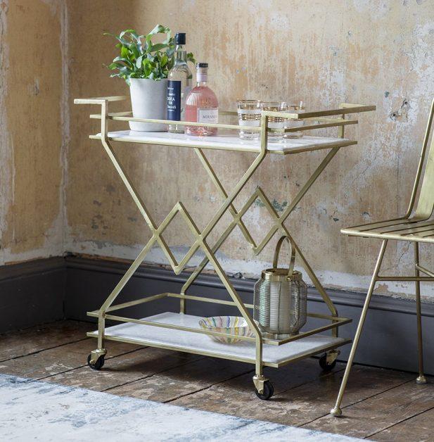 art deco style gold drinks trolley