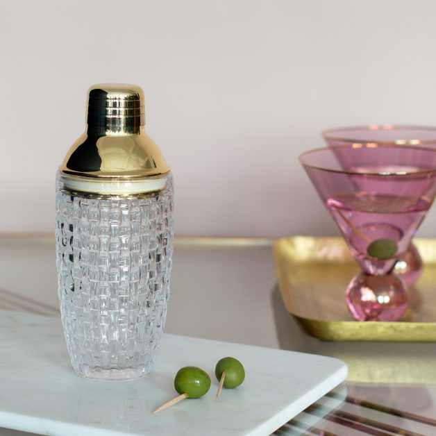Gold glass cocktail shaker