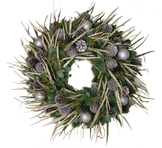 Silver Bauble and Grevillia Wreath by Berries and Baubles