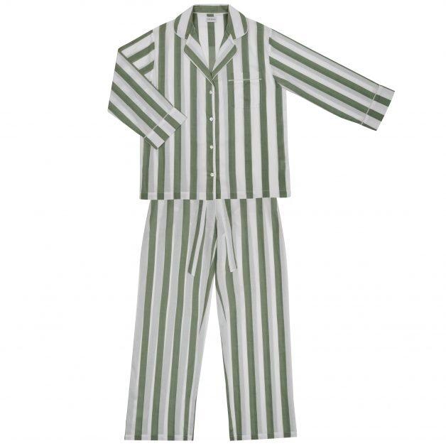 Christmas presents for women sage stripe pyjama set honna London