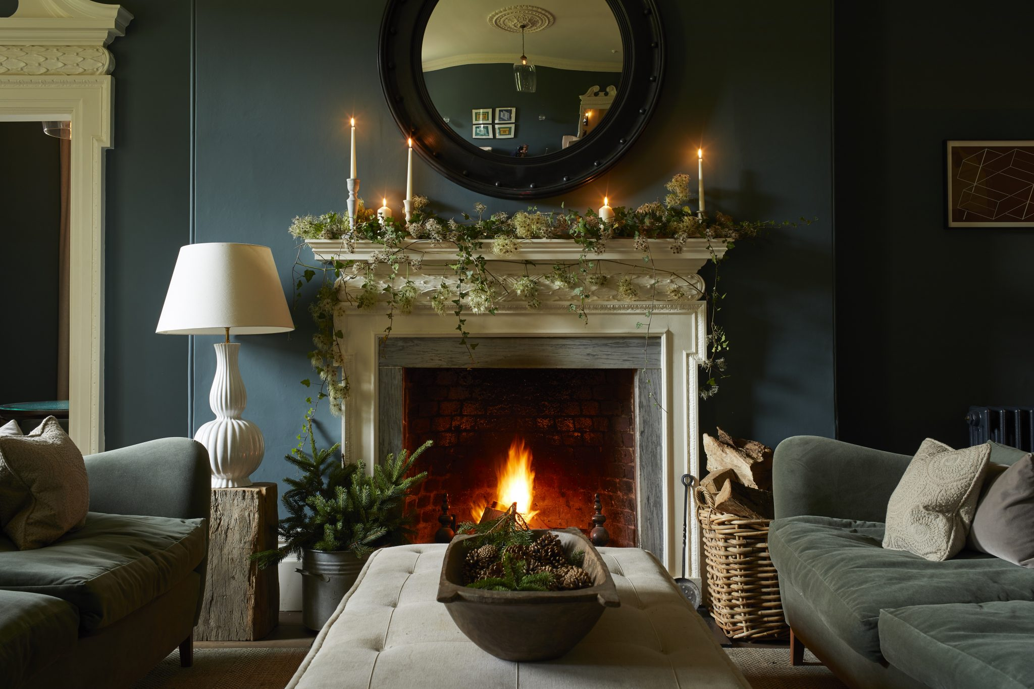 Christmas fireplace at The Rectory Hotel
