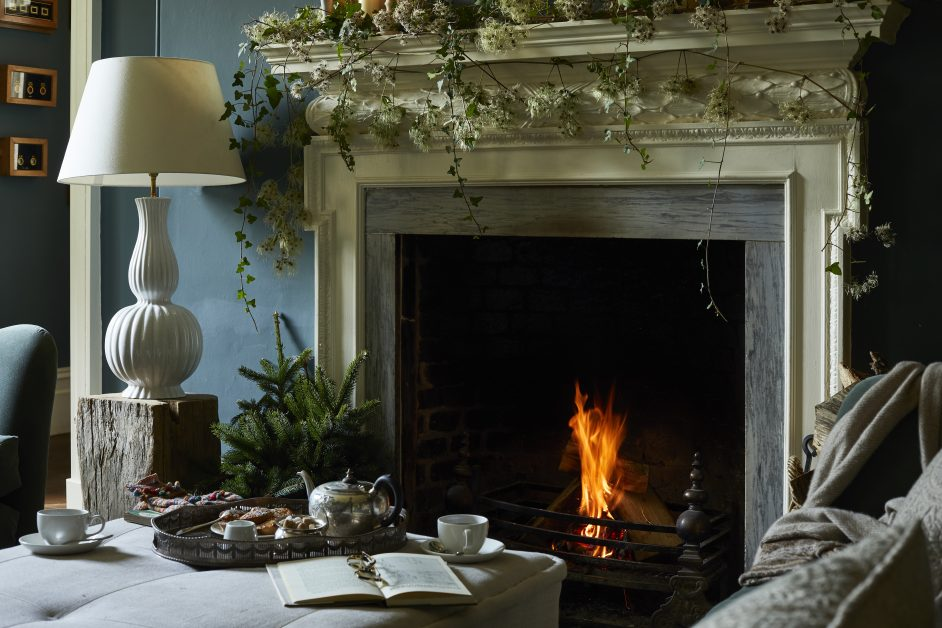 Christmas fireplace with mince pies at The Rectory Hotel