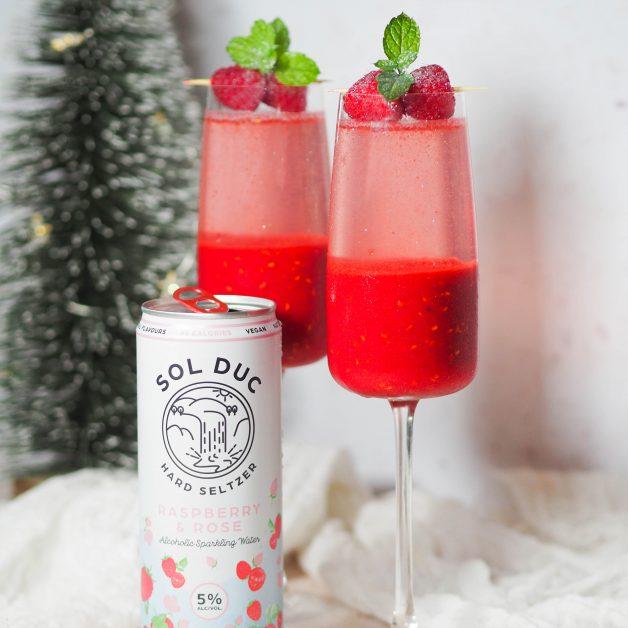 Christmas cocktails raspberry bellini