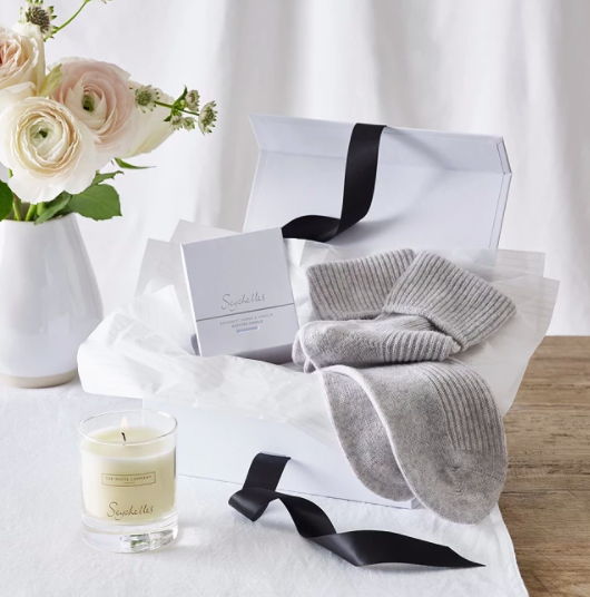 Cashmere socks and Seychelles candle set Mothers Day gifts
