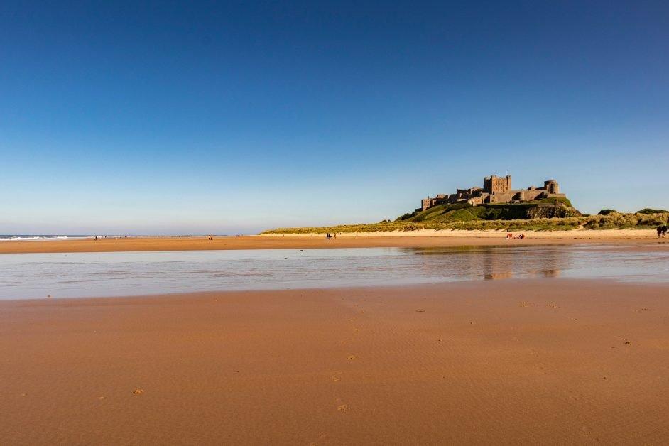 sandy beaches in the UK Bamburgh Beach, Northumberland