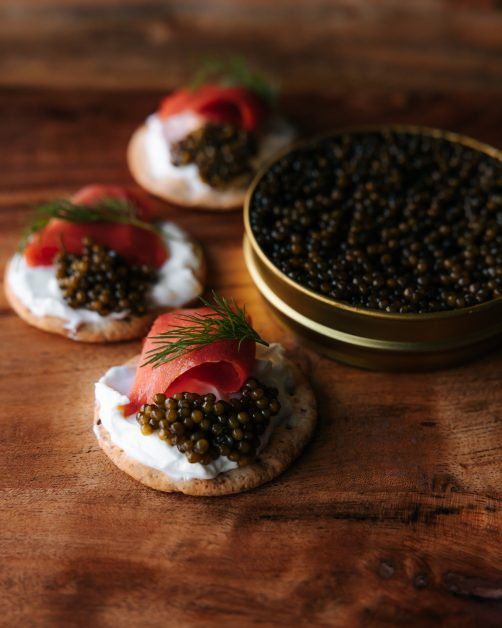 Russian pancake blini with salmon and caviar