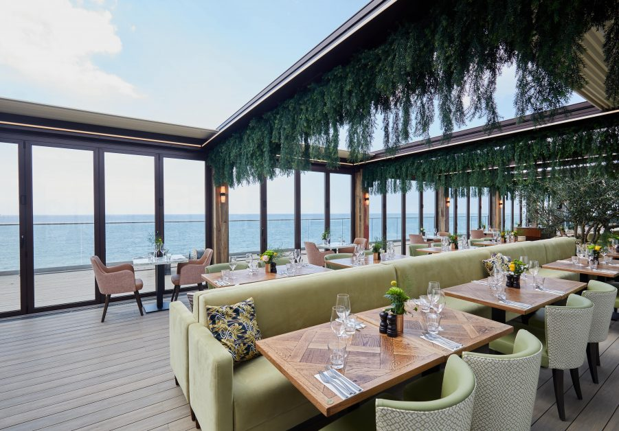 The stunning roof terrace restaurant at Rockwater on the Hove seafront