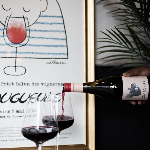 The wine-inspired artwork at The Cellar, King's Cross