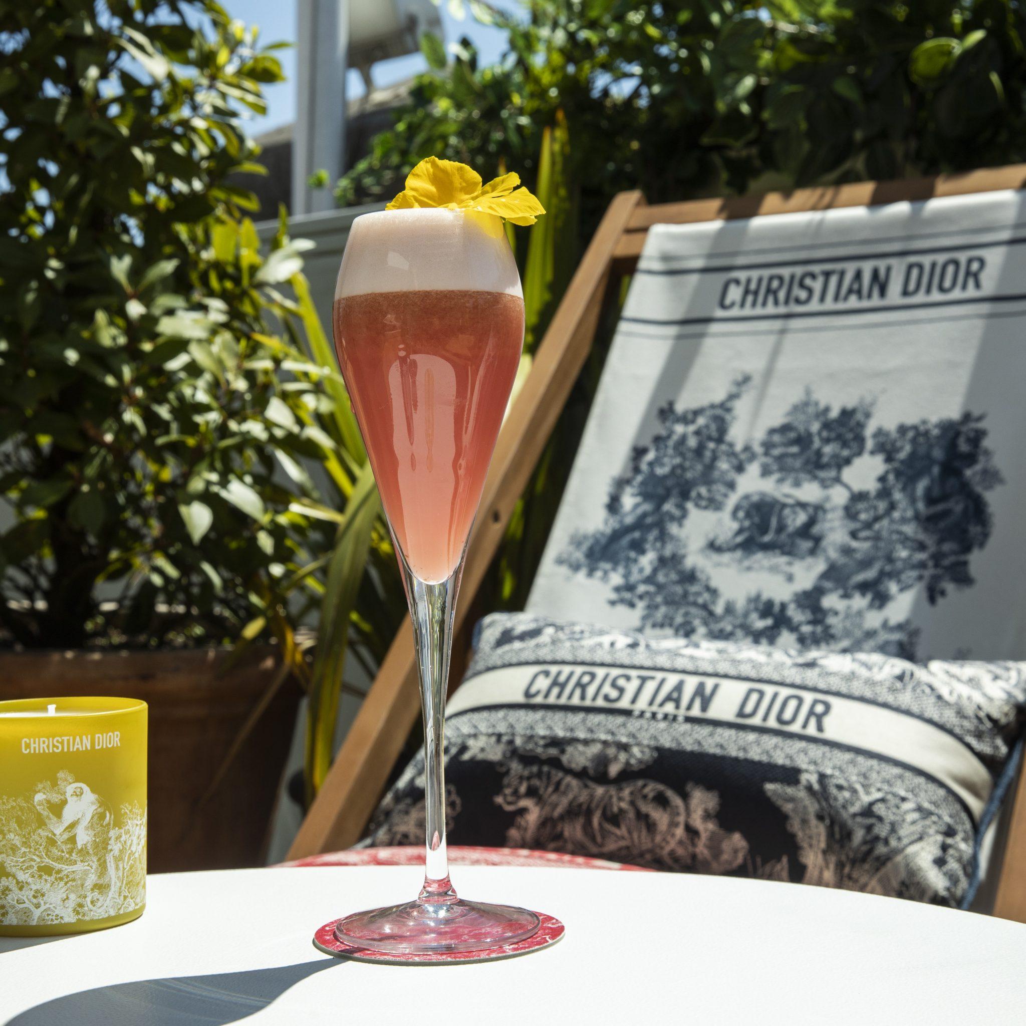 Cocktails and Dior cushions at Dior at Alto restaurant Selfridges