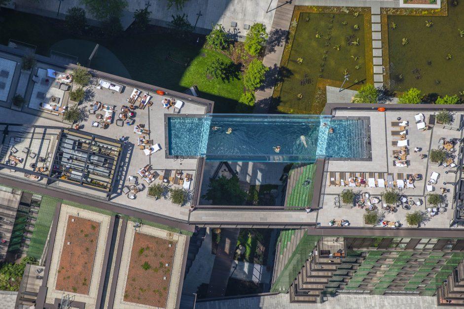 Aerial shot of London's Sky Pool