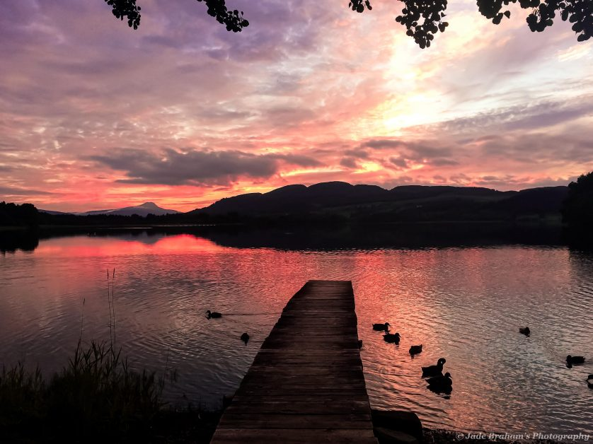 Sunset over Lake Menteith, Scotland's only lake