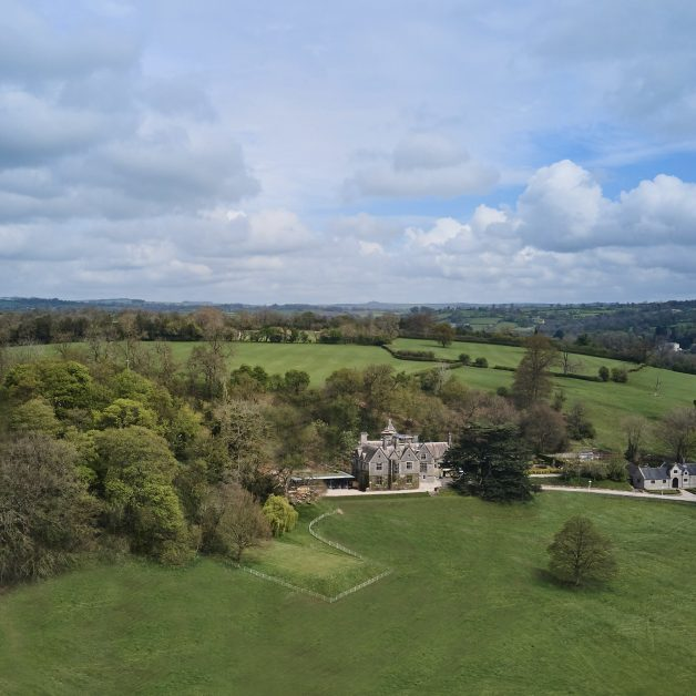 An aerial shot of Callow Hall